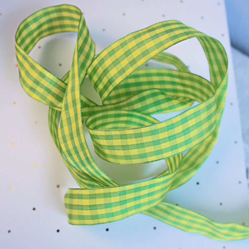 Chartreuse Green & Yellow French Checks Wired Ribbon