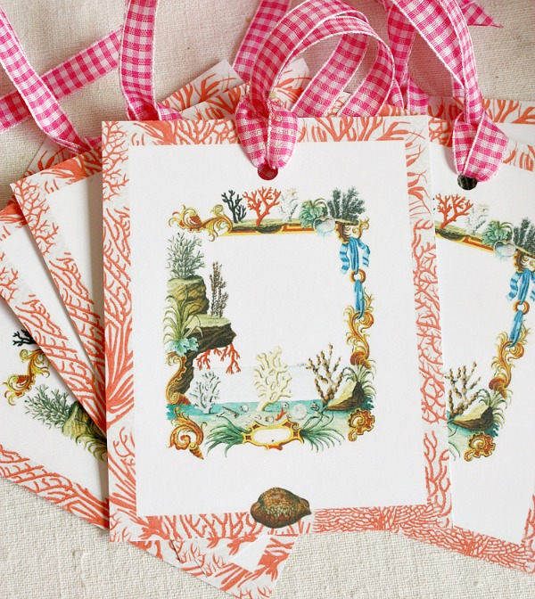 Large Coral Sea Gift Tags