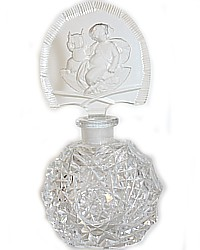 Estate Antique Czech Crystal Perfume Bottle Intaglio Cherub