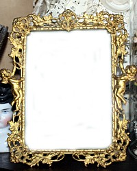 Antique French Ormolu Filigree Cherub Picture Frame