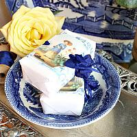 French Custom Wrapped Soap Set with Blue & White Chinoiserie Bowl