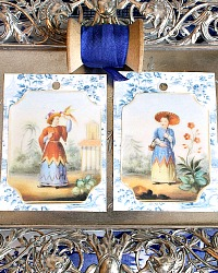 Set of Six Chinoiserie Gift Tags and Ribbon
