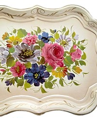 Huge Vintage Shabby Chic Tole Cream Chippendale Toleware Tray Floral Bouquet
