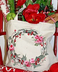 Holiday Hand Painted Canvas Market Tote Rose Wreath