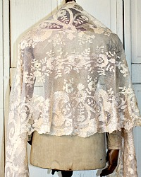 19th Century French Hand Needlelace Silk Champagne Blonde Floral Lace Wedding Shawl