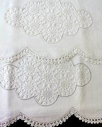 Antique Hand Made Crochet Insert Lace Linen Cotton Pillow Cases Pair