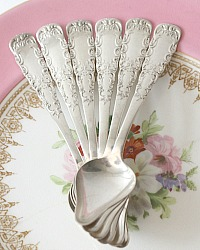 Antique Silver Plated Citrus Spoons Ornate Set of 6