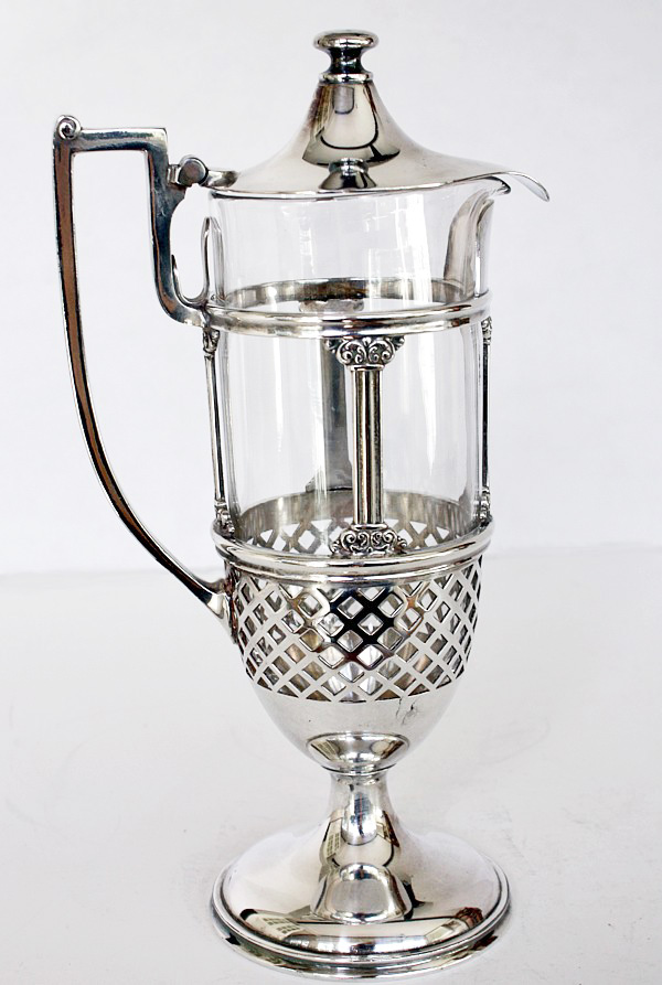 Exquisite Reed Barton Round Glass & Silver Tall Claret or Water Carafe