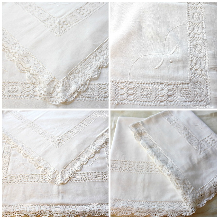 Antique Hand Made Linen Cluny Lace Ruffle Pillow Shams Pair