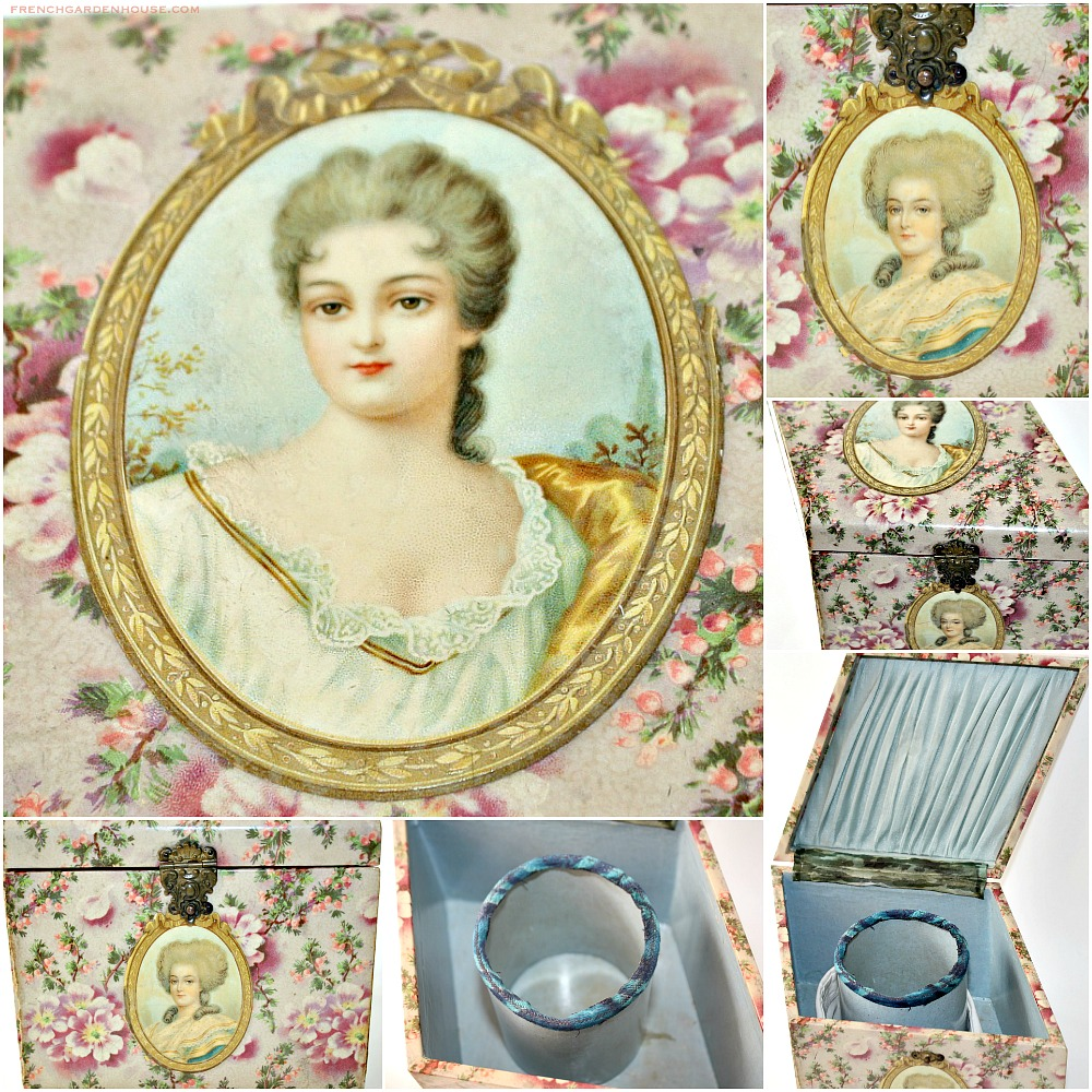 Antique Victorian Celluloid Collar Box with Portrait and Floral Design