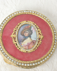 Apricot Enamel Guilloche Portrait Compact with Jeweled Lid