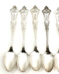 Antique Coin Silver 1870 Clematis Spoons Monogrammed M E H Set of 5