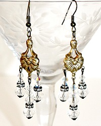 Iridescent Crystal One of a Kind Parisian Chandelier Earrings