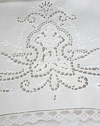 Antique Victorian Whitework Cutwork Pillowcases Pair