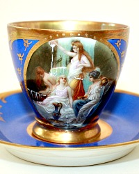 Hand Painted Enameled Raised Gilt Blue Demitasse Cup & Saucer II