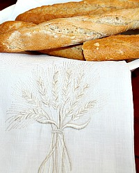 Our Daily Bread European Linen Embroidered Towel