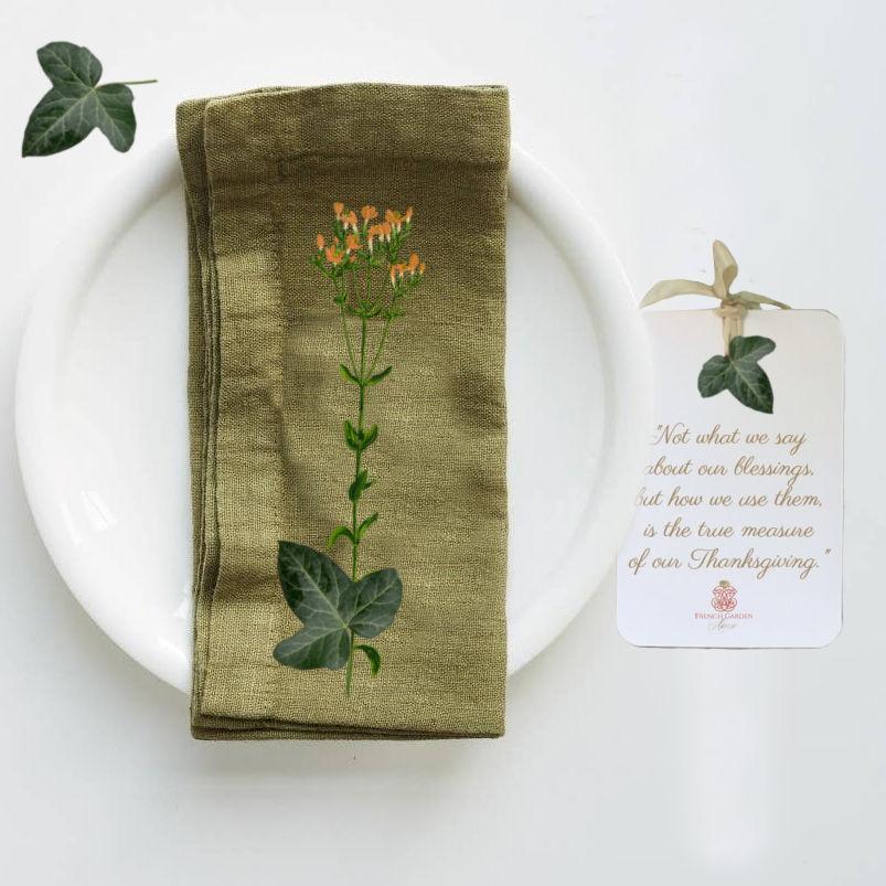 European Linen Napkins Set of 4 Olive Verte