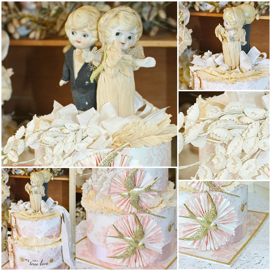 Vintage 1920's Kewpie Cake Topper Wedding Keepsake Memory Cake Box