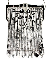 Art Deco Whiting & Davis Black & Cream White Mesh Purse with Black Enameled Frame