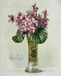 Antique Violets Chromolithograph Print Paul de Longpre