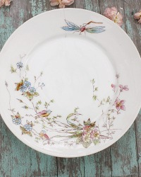 Antique Shabby Estate French Porcelain Compotier Birds and Dragonfly