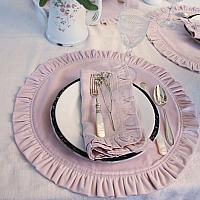 European Pink Rose Velvet Ruffled Placemat