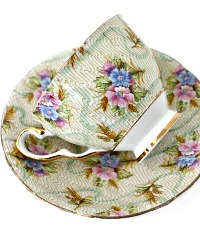 Vintage English Bone China Tea Cup Elizabeth Chintz