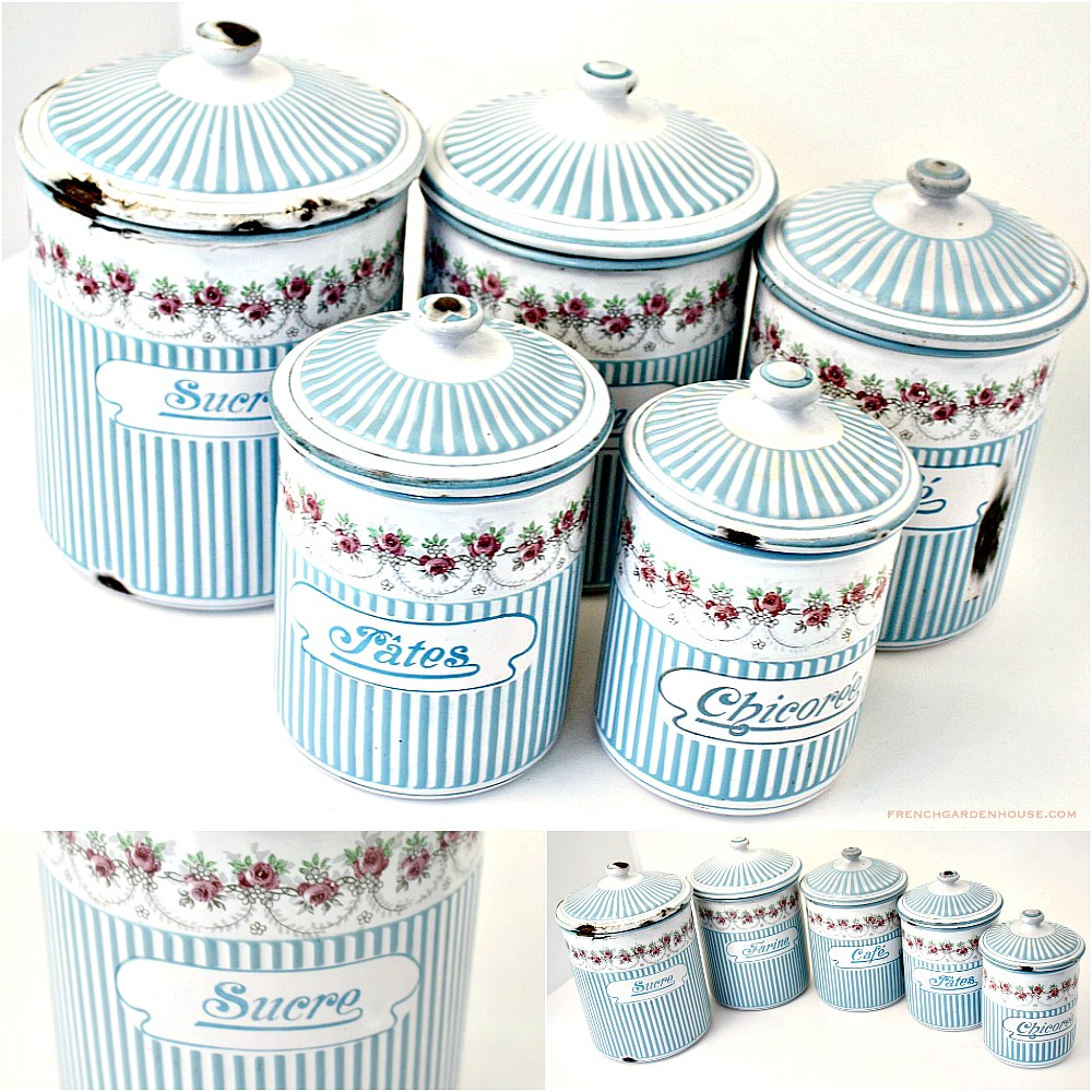 Antique French Enamelware Canister Set Rose Garlands and Stripes