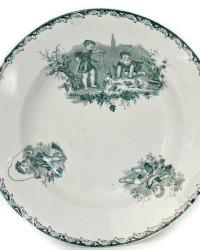 Rare 19th Century Groupe d'Enfants Transferware Plate Set of 6
