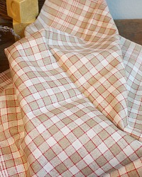 Antique French Estate Linen Tea Towel Unused Red Cream Checks