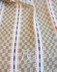 Antique French Estate Linen Tea Towel Unused Checks