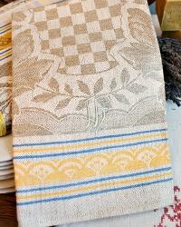 Antique French Estate Luxury Exclusif Linen Tea Towel Unused Checked