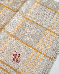 Antique French Estate Luxury Exclusif Linen Drying Towel Unused Fruit