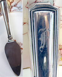 Vintage Silverplate Monogrammed Cheese Server F