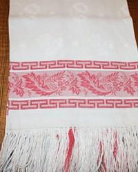 Antique Turkey Red Linen Fringed Show Towel Fern