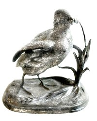 Antique Silver Plate Bird Figural Sculpture
