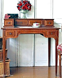 Antique French Wood Inlay Writer's Desk