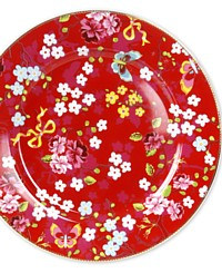 Chinoiserie Rose Red Large Charger Plate Set of 2