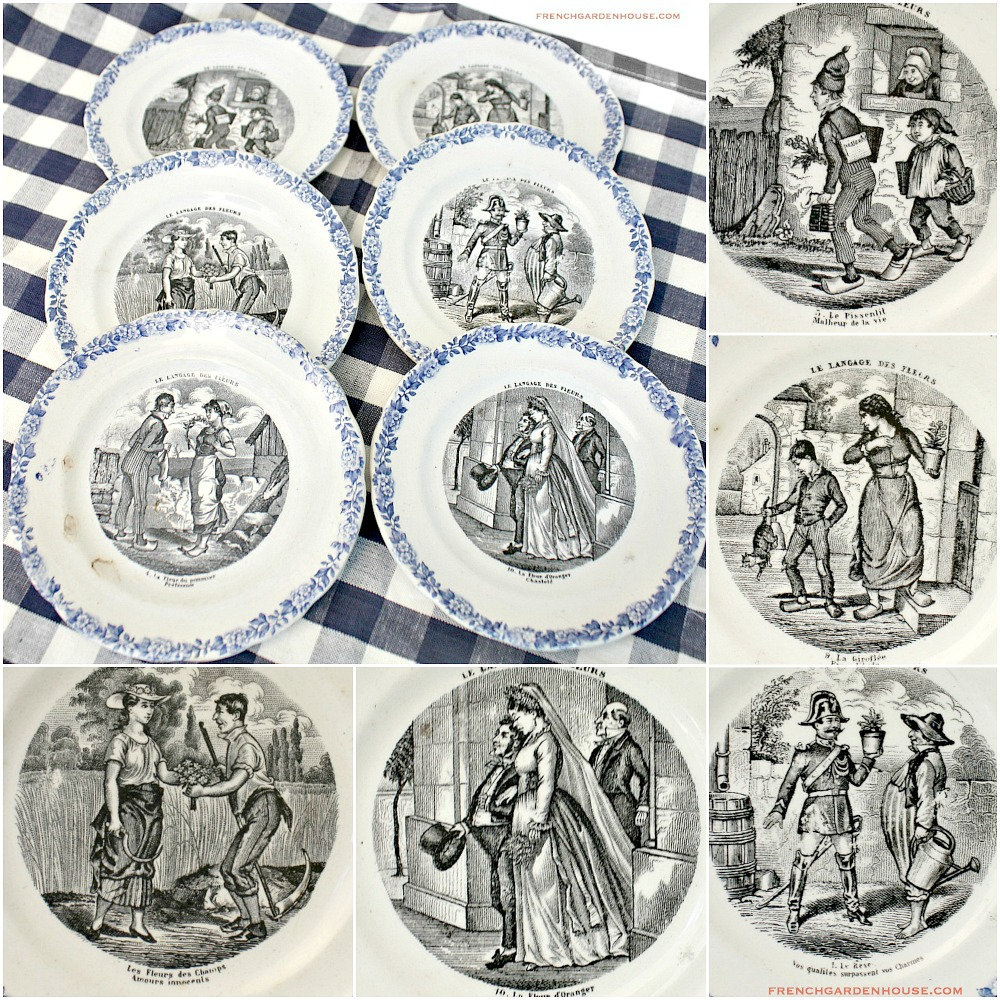 19th Century French Langage des Fleurs Faience Cabinet Plate Set of 6
