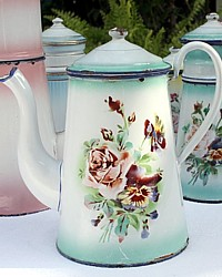 Antique French Rose & Pansies Floral Enamelware Coffee Pot