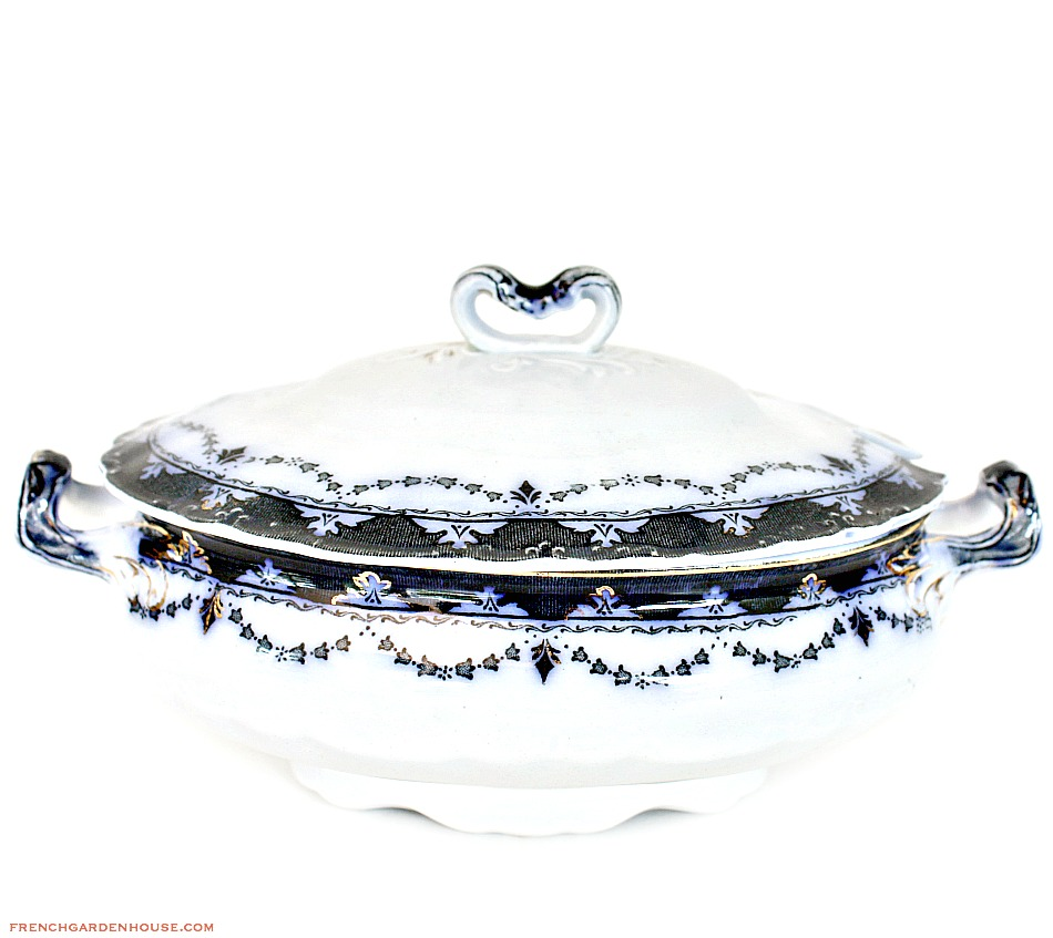 Antique English Flow Blue Covered Sauce Tureen Alfred Meakin