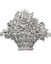 Vintage Trifari Alfred Philippe Pave Basketweave Flower Basket Brooch