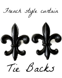 French Style Fleur de Lis Curtain Holdback Set of 2
