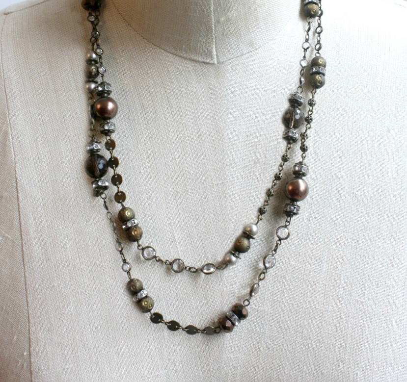 Mixed Metals Wrap Necklace