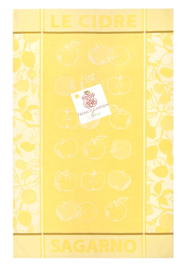 French Country Yellow Apples Drying Tea Towel