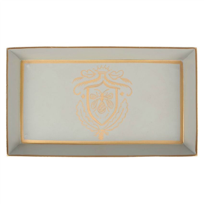 Napoleon Bee Hand Painted Tole Guest Tray Dove Grey