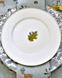 French Country White Porcelain Enamelware Salad Plates Set of 4