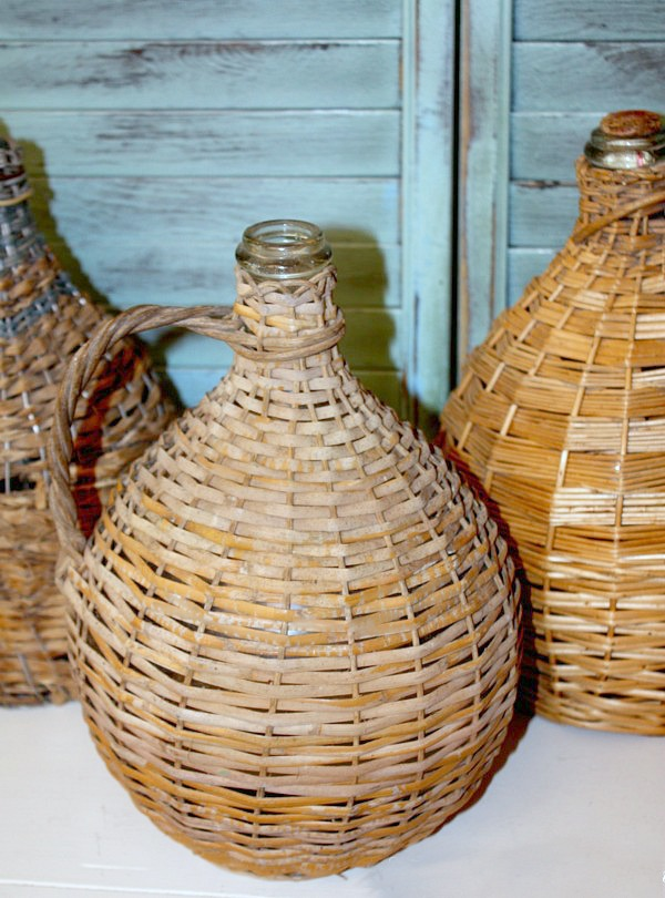Antique French Bonbonne Basket Bottle Demijohn A