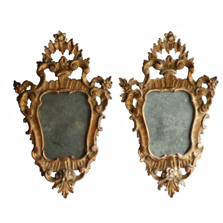 Pair Of Small Scale Carved French Rococo Style Mirrors