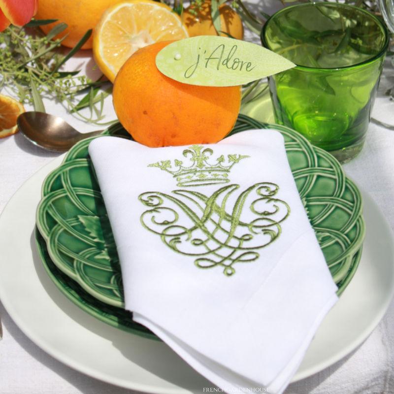 Luxury European Linen White Napkins Green Embroidered Royal Crest